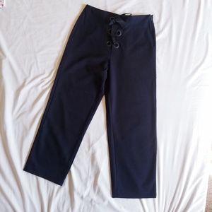 Zara navy strap fly twill straight ankle pants
